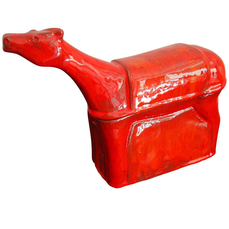 Red Enameled Ceramic Box Sculpture by Robert & Jean Cloutier