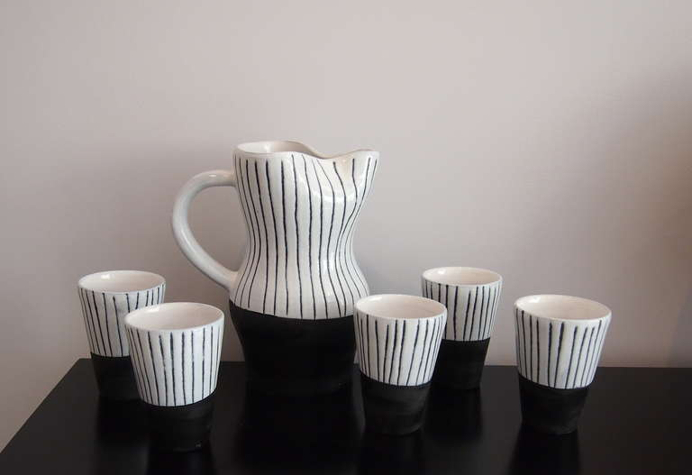 Jacques Innocenti Vallauris Ceramic Drinking Set 1950's In Good Condition For Sale In Paris, FR