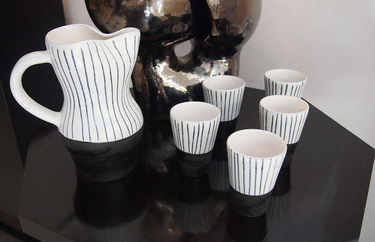 Jacques Innocenti Vallauris Ceramic Drinking Set 1950's For Sale 2
