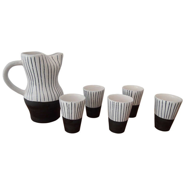 Jacques Innocenti Vallauris Ceramic Drinking Set 1950's For Sale