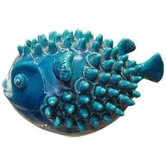Pol Chambost Blue Ceramic Fish Sculpture