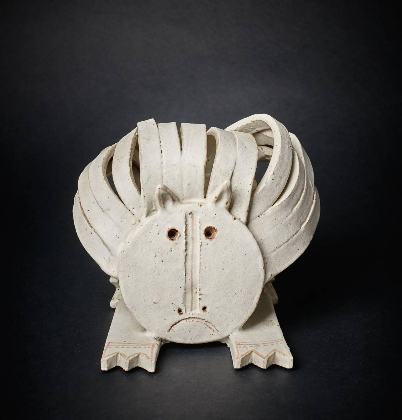 Cat Ceramic Sculpture by Bruno Gambone 1970's 2