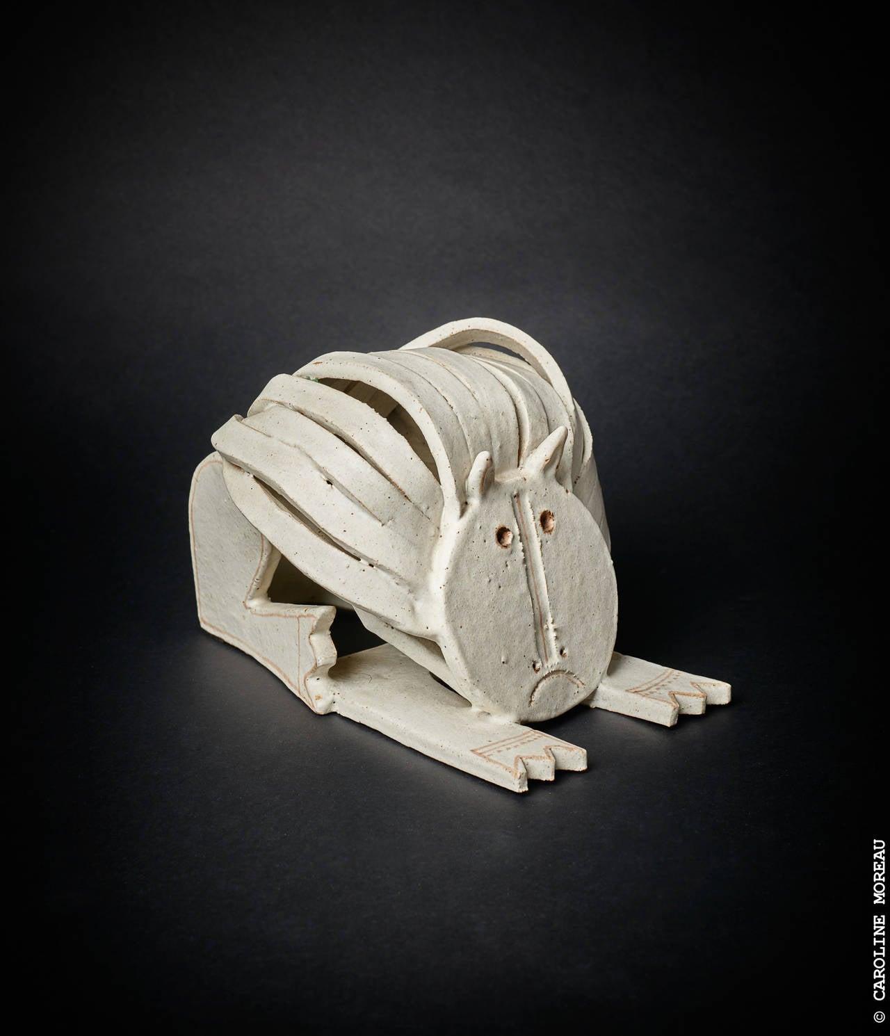 Cat Ceramic Sculpture by Bruno Gambone 1970's 3