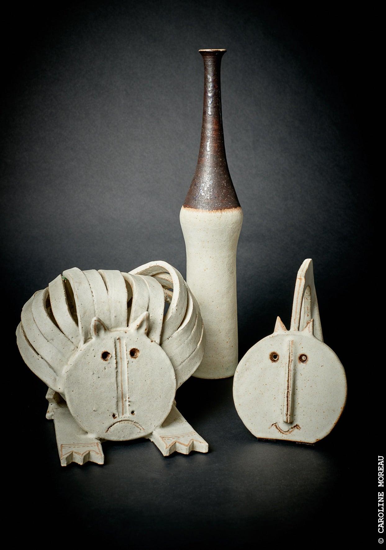 Cat Ceramic Sculpture by Bruno Gambone 1970's 5