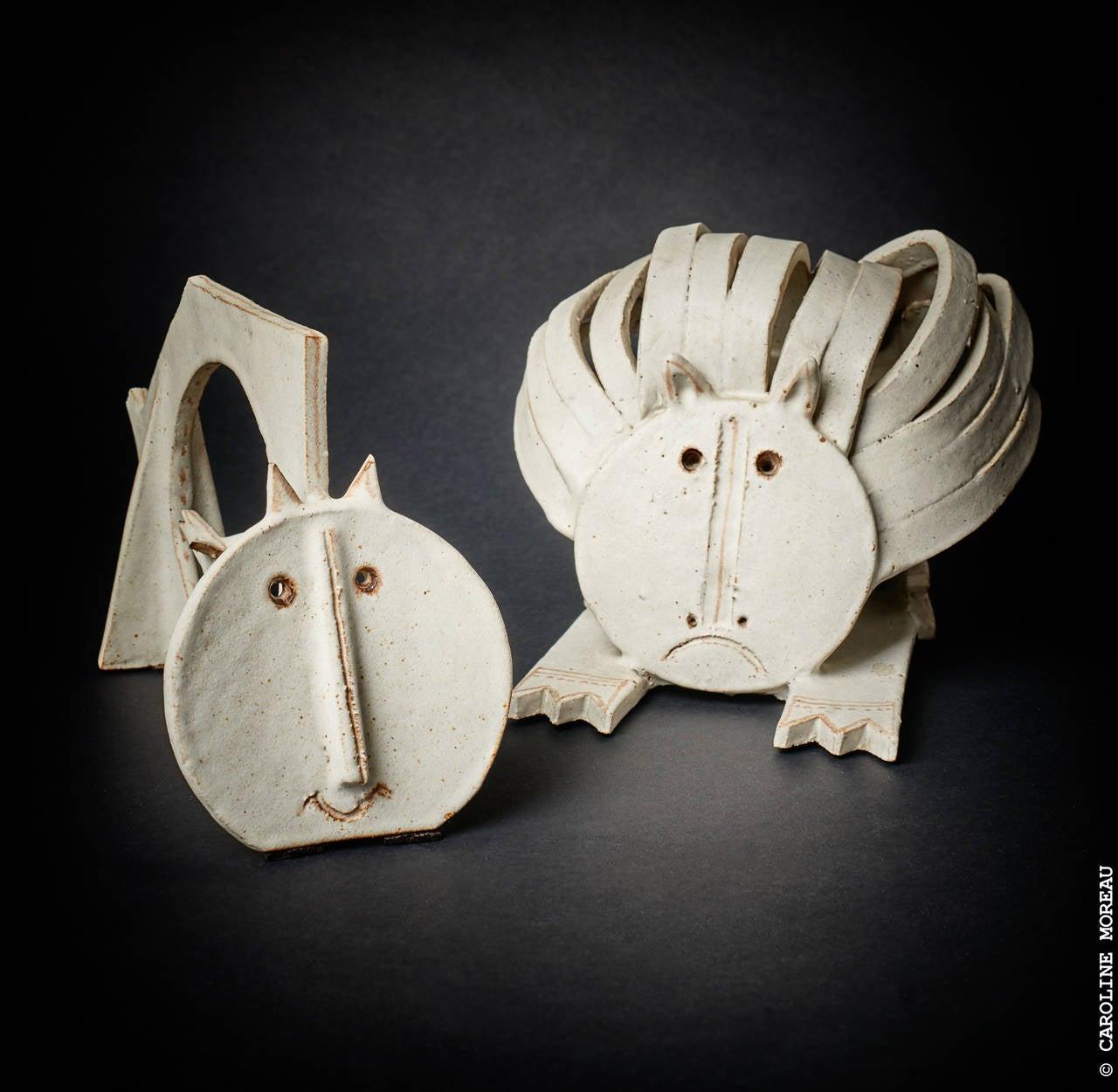 Cat Ceramic Sculpture by Bruno Gambone 1970's 4