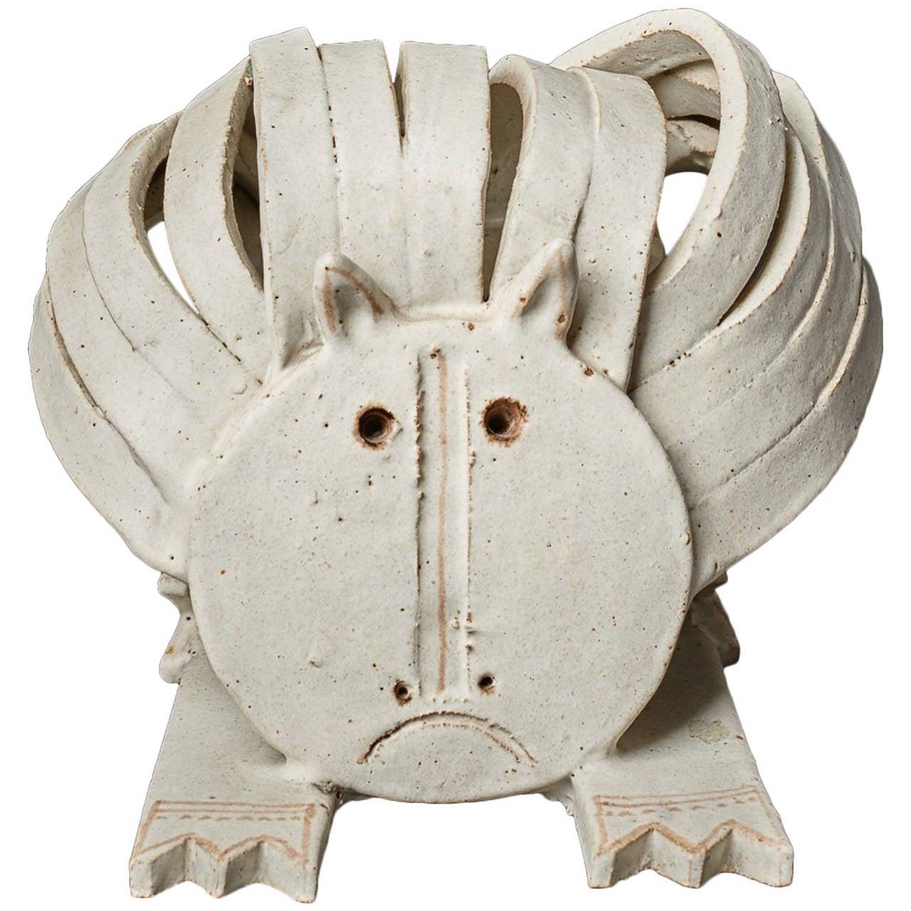 Cat Ceramic Sculpture by Bruno Gambone 1970's 1