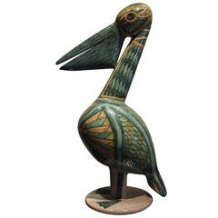 Pelican Ceramic Sculpture with Cloisonné Enamel, French, 1960