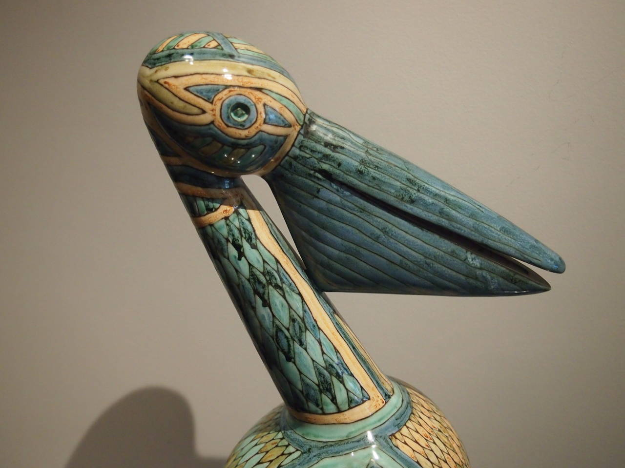 Pelican Ceramic Sculpture with Cloisonné Enamel, French, 1960 In Excellent Condition For Sale In Paris, FR