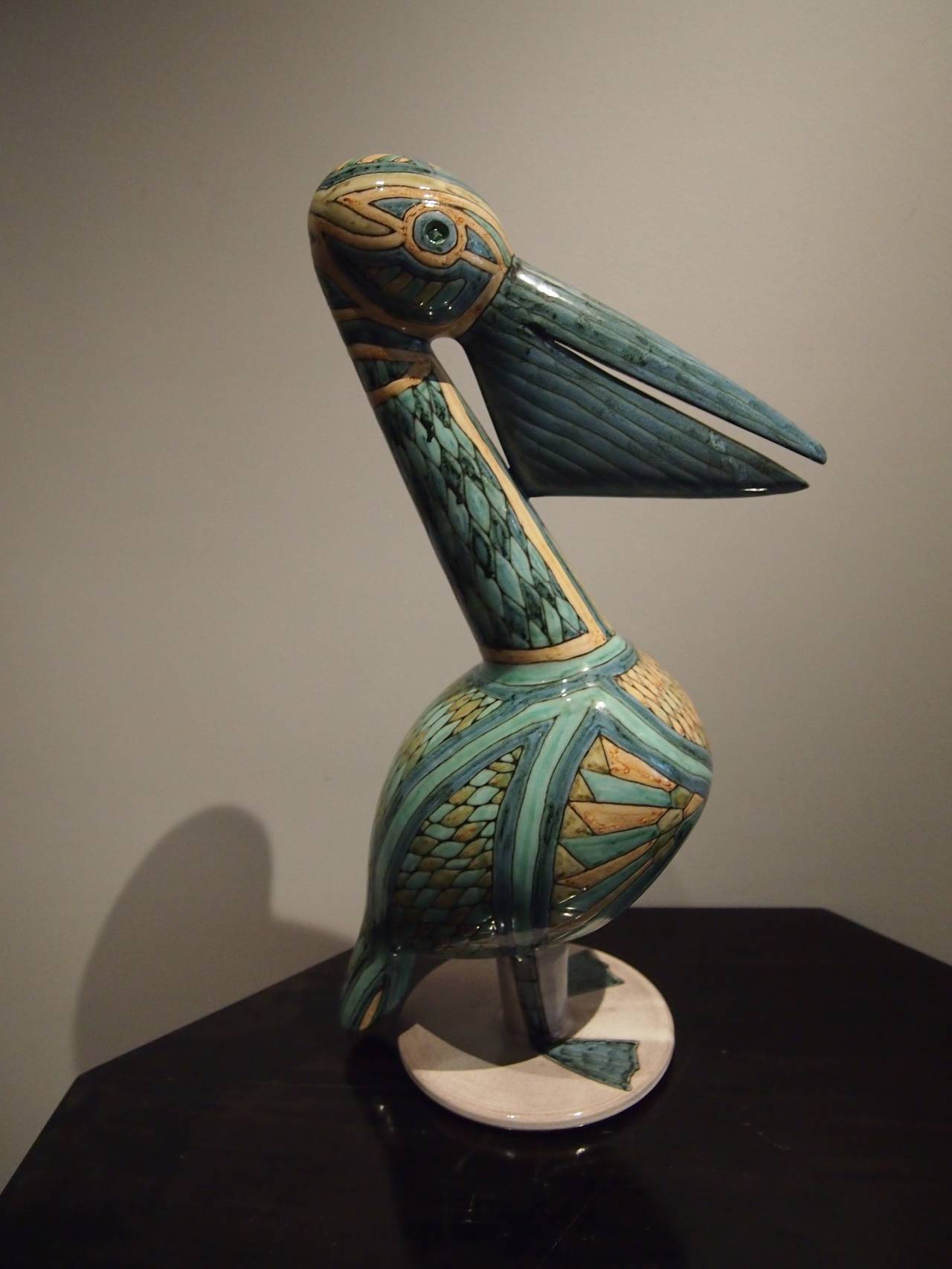 Mid-20th Century Pelican Ceramic Sculpture with Cloisonné Enamel, French, 1960 For Sale