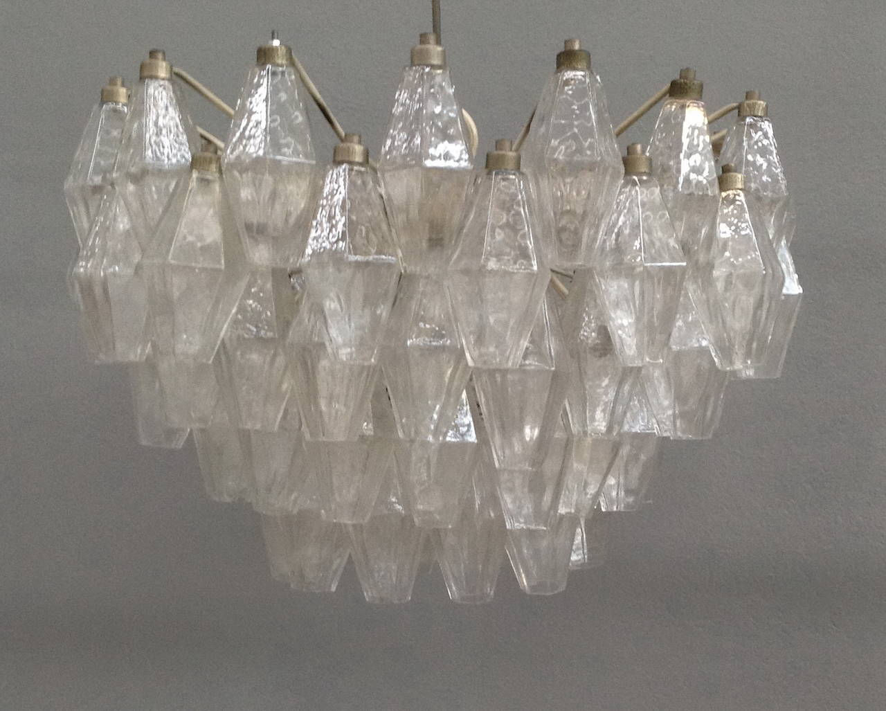 Murano polyhedral glasses chandelier attributed to carlo scarpa for murano glass chandelier with eight lights five tiers glasses are all clear aloadofball