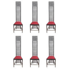 Rare Set of Six Mackintosh Charles Rennie Chairs by Cassina