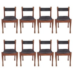 Set of Eight Leather and Wood Chairs by Silvio Coppola for Bernini