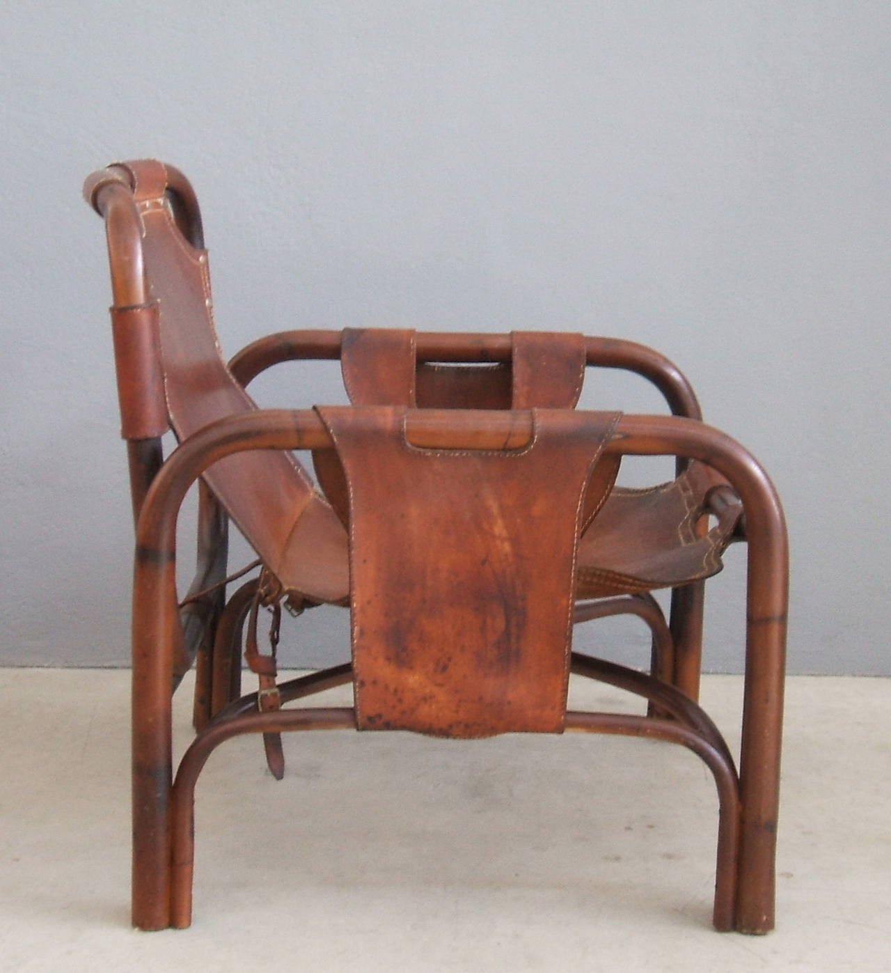 Delicieux Nice And Comfortable Leather And Bamboo Safari Chair. Very Good Vintage  Conditions.