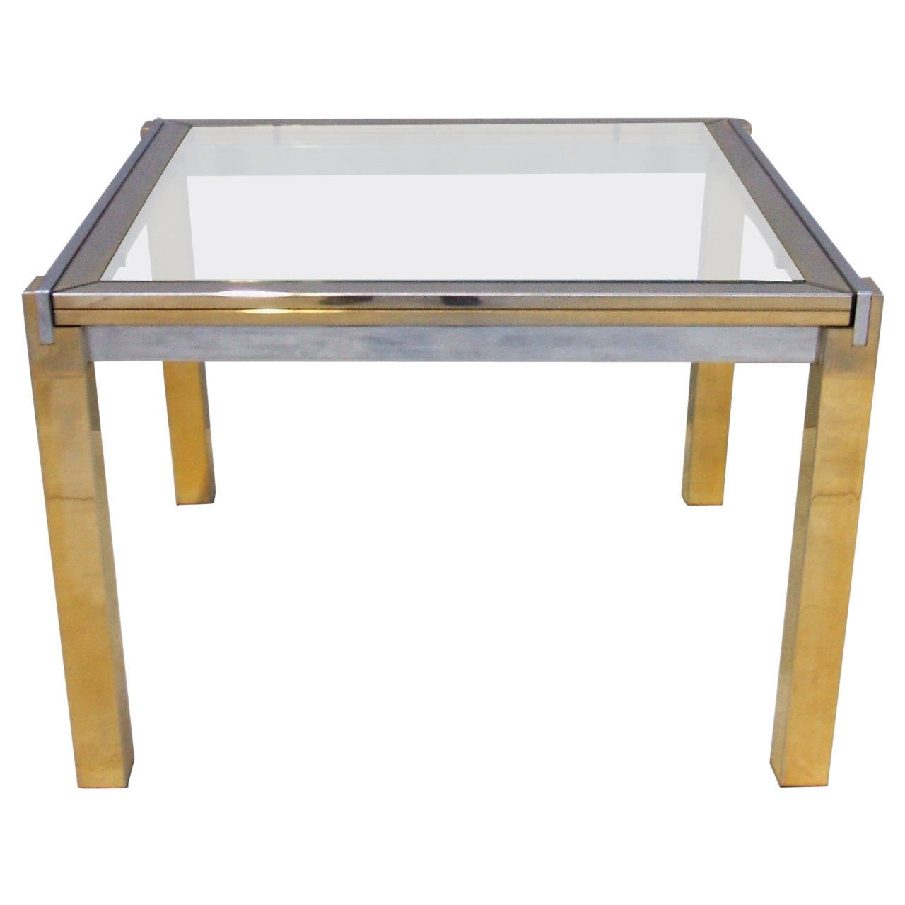 Extensible chrome and brass dining table at 1stdibs - Tables relevables extensibles ...