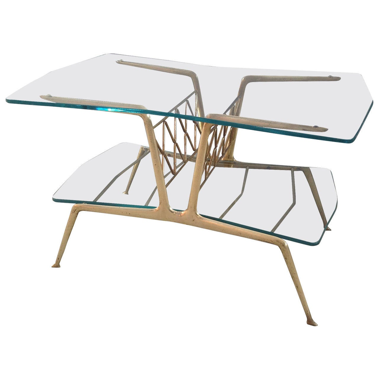 Gio ponti style magazine coffee table with magazine rack for Coffee tables 80cm wide