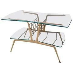 Gio Ponti Style Magazine Coffee Table with Magazine Rack