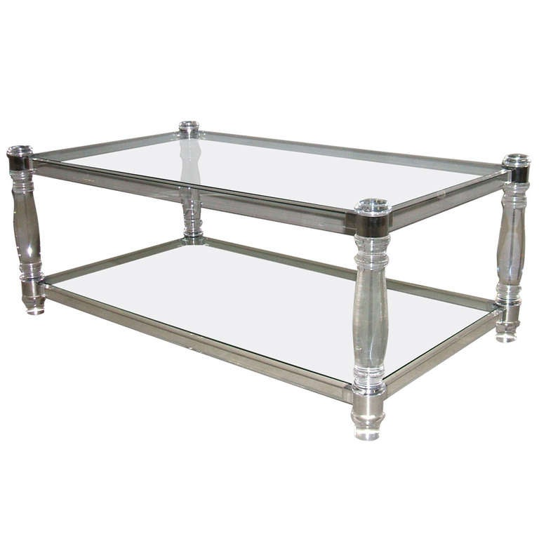 Italian Chrome And Lucite Coffee Table At 1stdibs