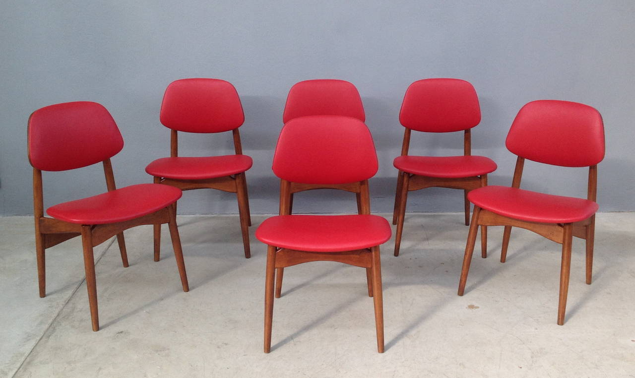 Mid-Century Modern Fine Set of Six Italian 1950s Chairs For Sale