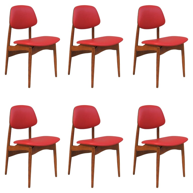 Fine Set of Six Italian 1950s Chairs For Sale