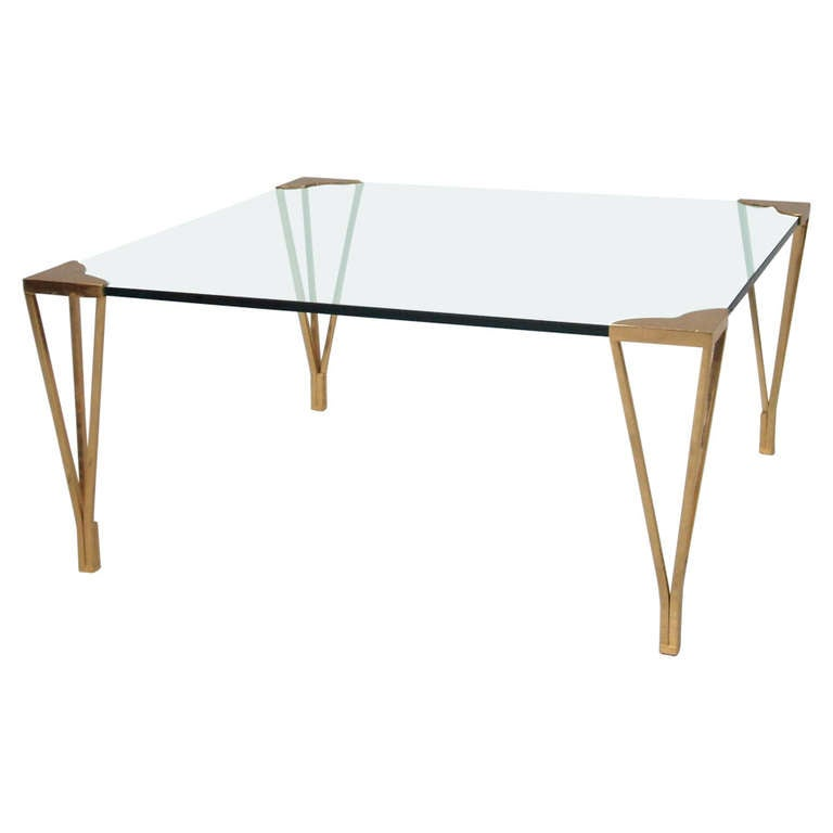 Nice Square Glass And Brass Coffee Table At 1stdibs
