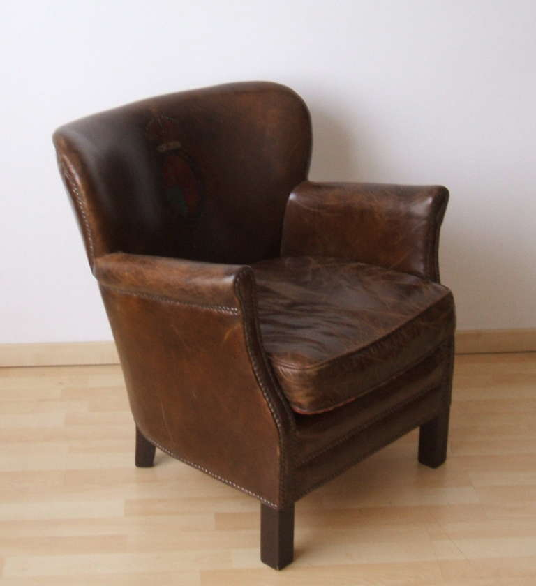 Petite Chair english petite lounge chair in original leather at 1stdibs