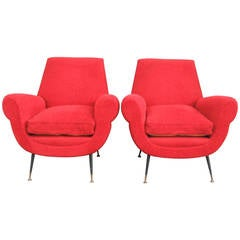 Stunning Pair of Armchairs by Gigi Radice for Minotti