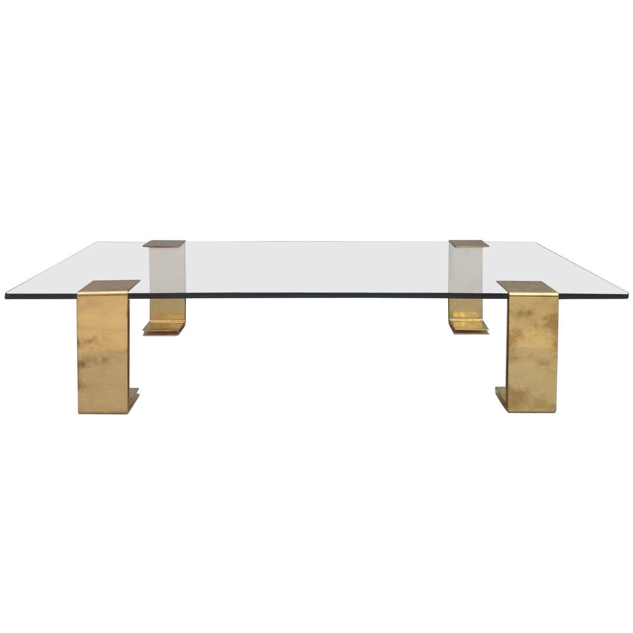 Huge Italian Brass And Glass Coffee Table At 1stdibs