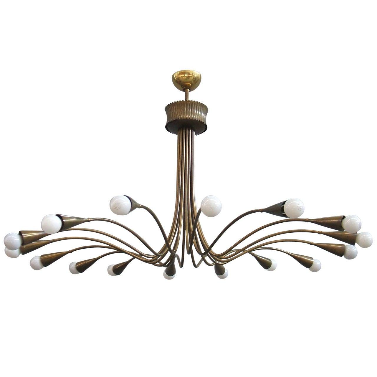Wonderful arredoluce brass chandelier at 1stdibs for Arredo luce