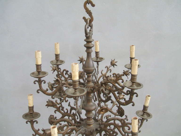 Two Tiered Bronze Chandelier at 1stdibs