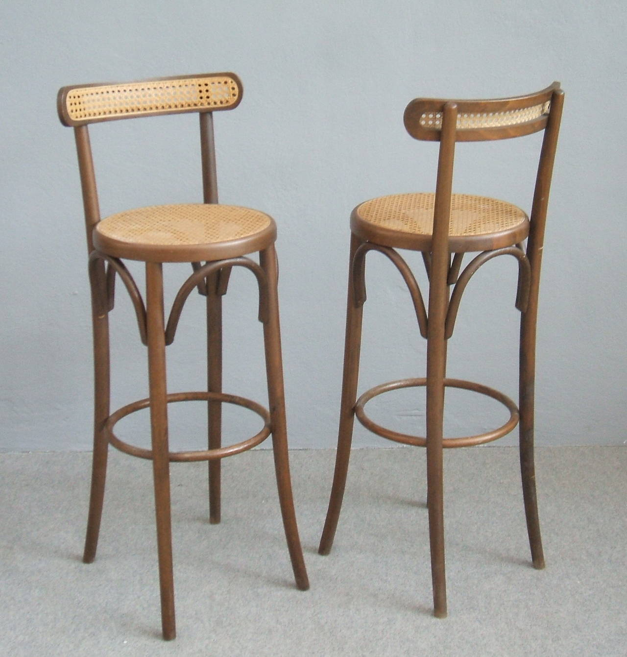 Pair Of Bar Stools In The Thonet Style At 1stdibs