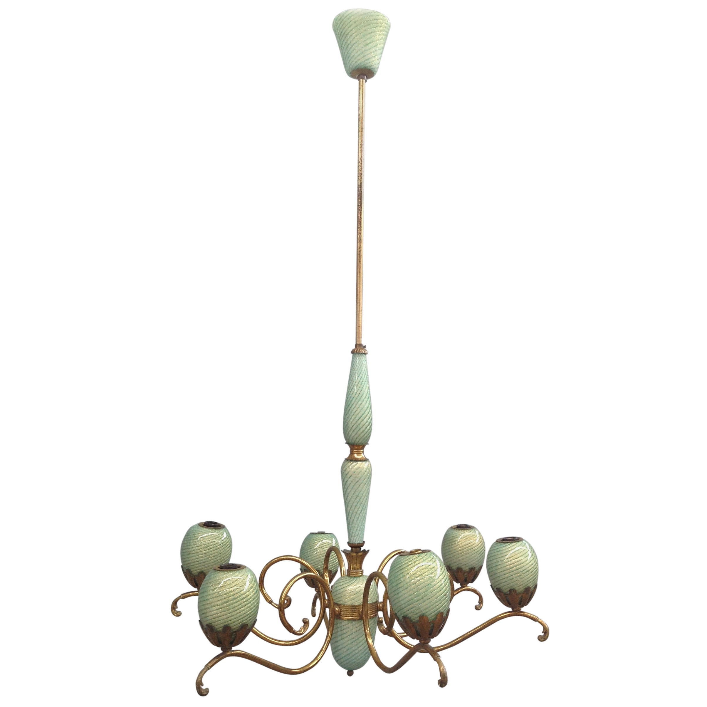 Charming brass and Murano glass chandelier