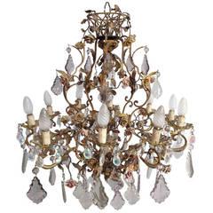 Elegant Brass, Crystal and Porcelain Flower Chandelier