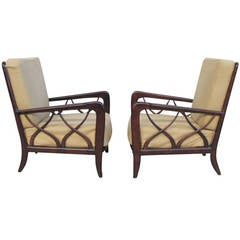 Elegant Pair of Armchairs in the Style of Paolo Buffa