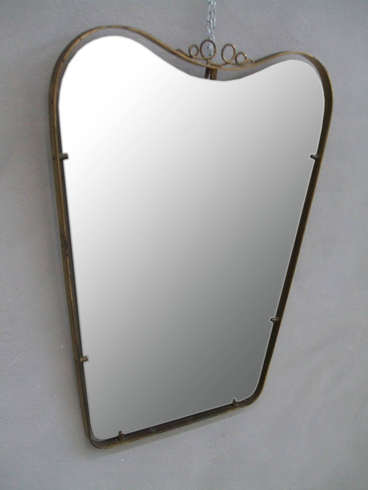 Brass frame mirror in the style of gio ponti for sale at for Mirror frame styles
