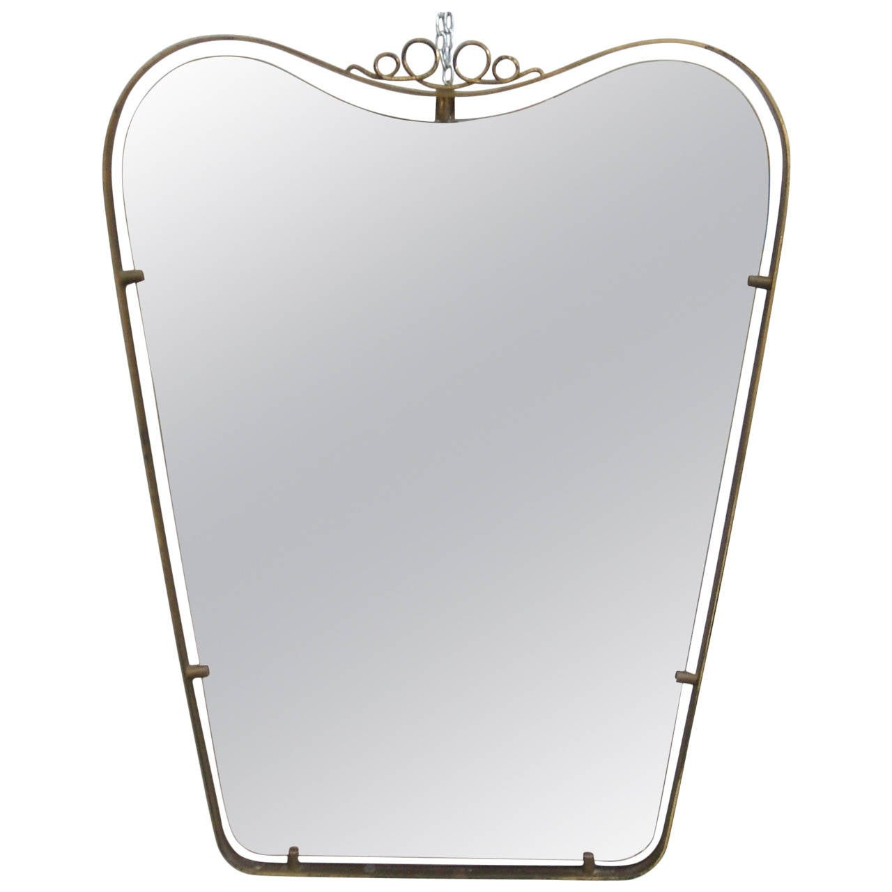 Brass Frame Mirror in the Style of Gio Ponti