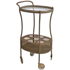 French Art Deco Brass Bar Cart