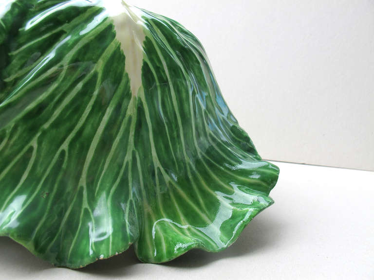 Rococo Cabbage Head Pair of Trompe L'Oeil Faïence Terrines For Sale