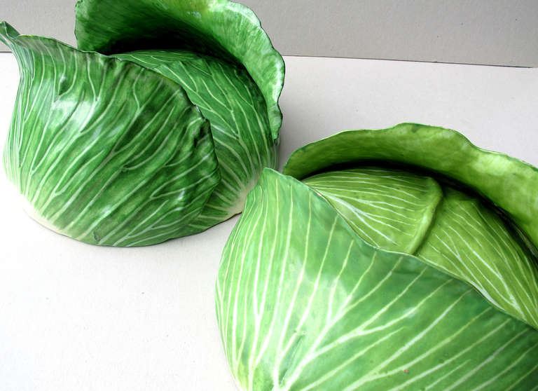 18th Century and Earlier Cabbage Head Pair of Trompe L'Oeil Faïence Terrines For Sale