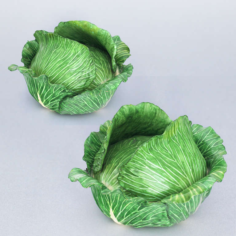 cabbage head pair of trompe l 39 oeil fa ence terrines for. Black Bedroom Furniture Sets. Home Design Ideas