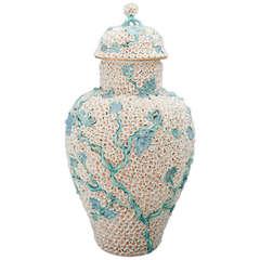 "A Large Meissen ""Schneeballen"" (Snowball) Vase with Cover"