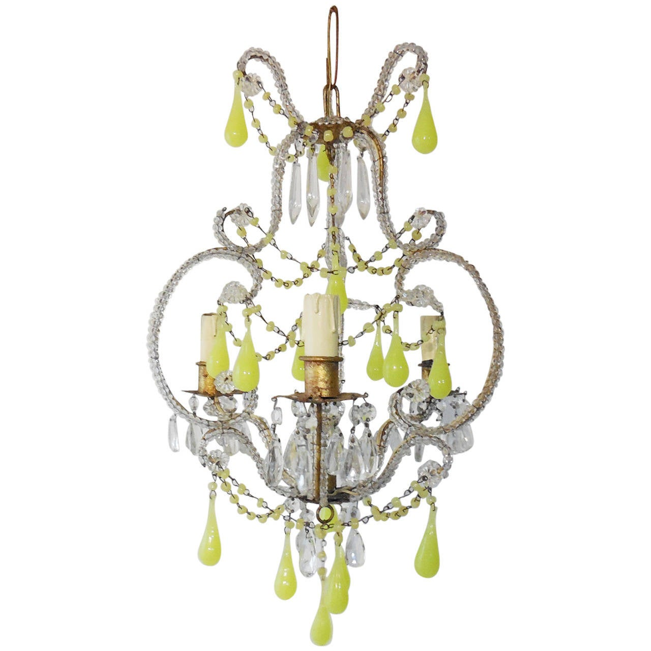 French crystal beaded yellow opaline drops and beads chandelier at 1stdibs - Chandelier glass beads ...