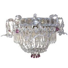 1920 French Flush Mount Beaded Maison Bagues Style Amethyst Drops Chandelier