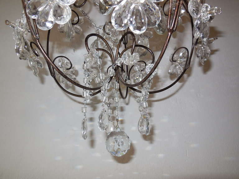French Clear Crystal Prisms Bagues Style Flowers Chandelier Vintage In Excellent Condition For