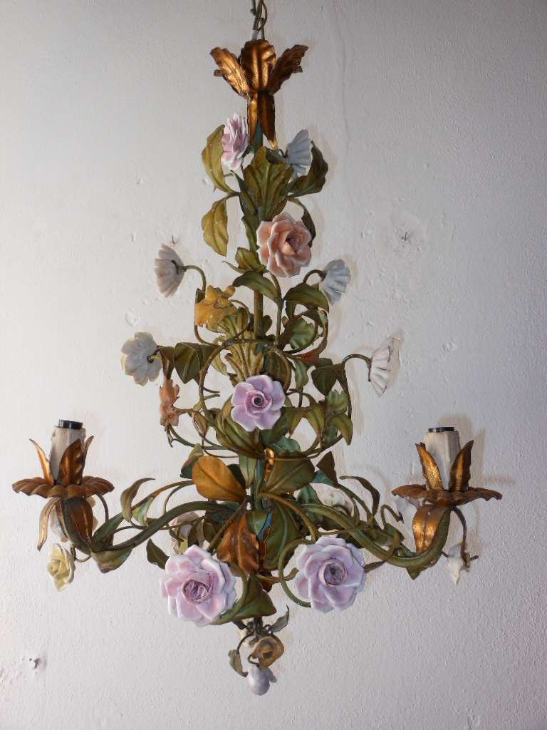 Italian Tole Porcelain Roses And Flowers Chandelier At 1stdibs