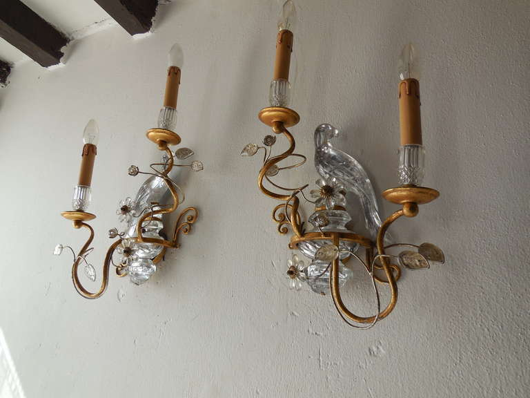 Italian Crystal Bird Prisms Flower Sconces at 1stdibs