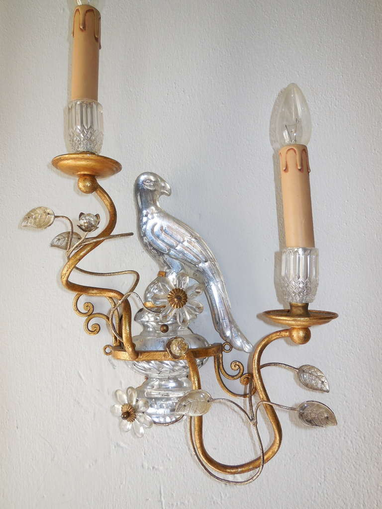 Wall Sconces With Birds : Italian Crystal Bird Prisms Flower Sconces at 1stdibs