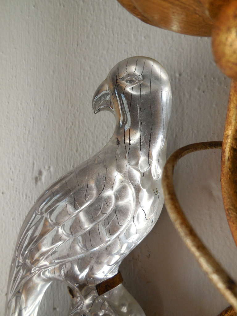 Crystal Bird Wall Sconces : Italian Crystal Bird Prisms Flower Sconces at 1stdibs