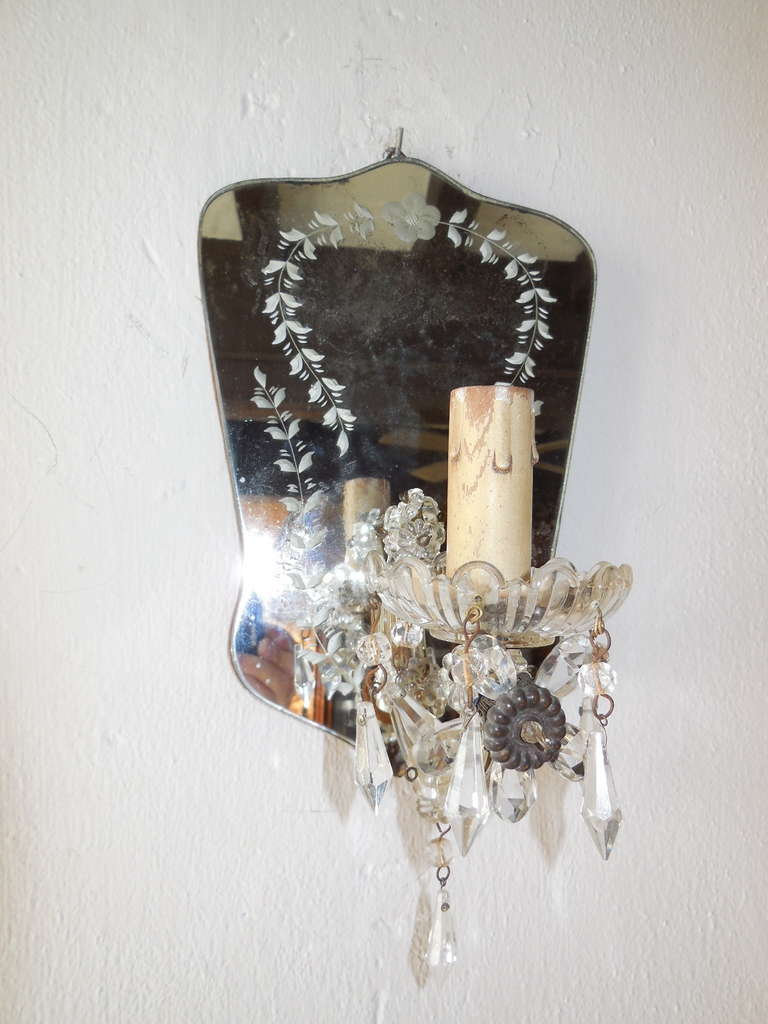 Italian Crystal Wall Lights : Italian Crystal Prisms Etched Mirror Sconces at 1stdibs