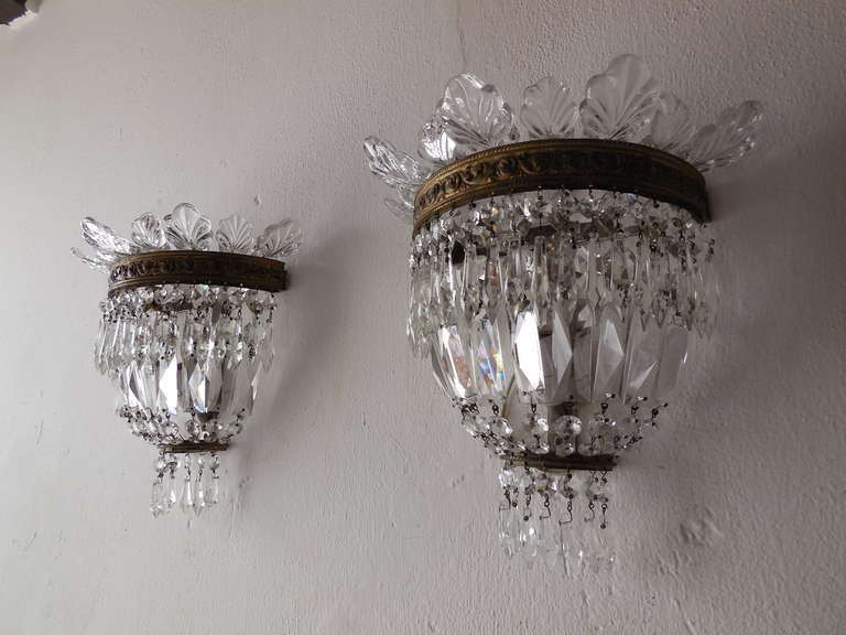 French Crystal Prism, Murano Empire Sconces at 1stdibs