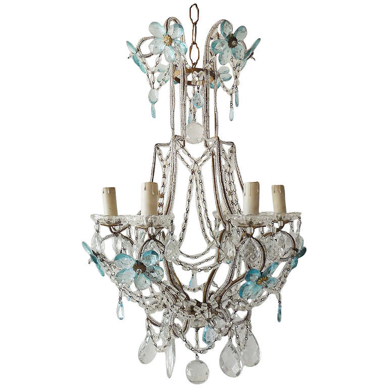 French Aqua Blue Crystal Prisms Flowers Beaded Chandelier